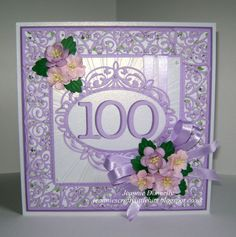 I've got some new die sets to play with on this card - My first 100th birthday card - dies from creative Expressions / Sue Wilson Canadian Border Corner and Tag, Lattice Arched Adornment and Complete petals Leaves, Joy Crafts Ovals and Memory Box Numbers. Dazzling Sunburst Embossing Folder, papers from Nitwitcollections Lilac Blossoms and flowers from Wild Orchid Crafts.
