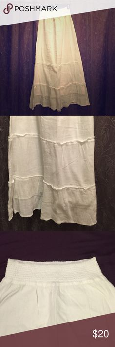 Old navy white skirt Full length, 100% cotton, white summer skirt. It has a liner so it's not see through! Never been worn, great shape! Old Navy Skirts