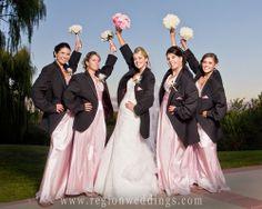 bridesmaids in groomsmen jackets
