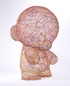 For this @kidrobot piece, a wax positive was cast from the original 'Munny' doll and then wrapped in multi-colored epoxy coated sewing thread.