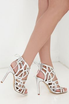 The Awe or Nothing Silver Caged Lace-Up Heels will always bring the glam with their metallic vegan leather upper, caged design, and lace-up back. Very High Heels, Strappy High Heels, Black High Heels, Lace Up Heels, Stiletto Heels, Silver Heels Prom, Prom Heels, Homecoming Shoes, Formal Heels