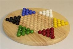 Wood Round Chinese Checkers with Marbles