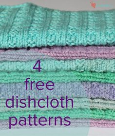 4 FREE dishcloth patterns - download at LoveKnitting!                                                                                                                                                     More