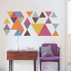 Triangulos Coloridos Estilo Retro Vinil Parede - Casadart.pt
