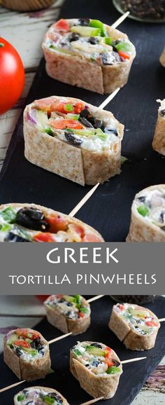Greek tortilla pinwheels - perfect simple party appetizers