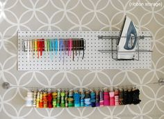 IHeart Organizing: Reader Space: A Craftaholic's Craft Room Like the hanging ribbon storage Ribbon Organization, Ribbon Storage, Craft Organization, Basement Craft Rooms, Things Organized Neatly, I Heart Organizing, Craft Room Storage, Sewing Box, Space Crafts
