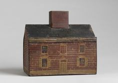 """Robert Young Antiques - Folk Art Collection. Rare Folk Art House Money Box  With Delightful Architectural Detailing  Hand Painted Tin or 'Toleware'  English, c.1850  7.50"""" high x 8.25"""" wide x 9.50"""" deep  #FolkArt"""