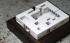 Favourite one - Big model, consisting of three smaller sectional models, made out of wood, painted in white with different coverage to highlight the section cut