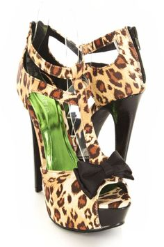Leopard Satin T Strap Tier Bow Accent Peep Toes Platform Heels. $31.99