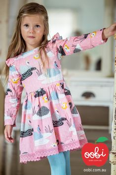 Dahlia Dress Blush Swan | Girls Party Dress | Oobi Girls Kid Fashion