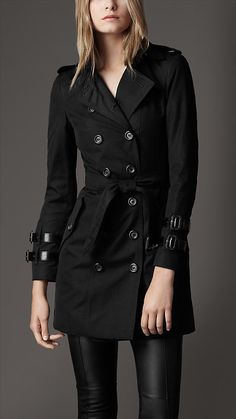 Burberry - SHORT COTTON BLEND LEATHER BUCKLE TRENCH COAT
