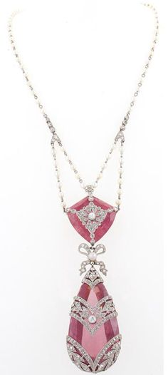 French Belle Epoque Necklace   With Seed Pearls, Diamonds And Pink Topaz Set In Platinum  c.1910