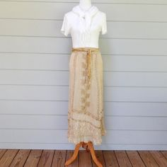 Vintage Gold Wrap Skirt Shore Line Made in India by FairfaxDavis