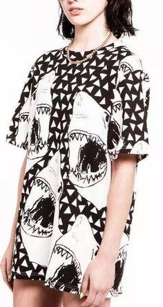 Hh04 Fashion Women 2016 Vintage Shark Animal Pattern T-shirt T Shirt Short Sleeve Street O-neck Black Loose Casual Tops Shirts
