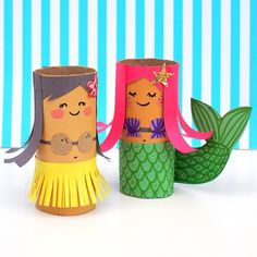 DIY Visual: TP Roll Hula Girl and her Mermaid BFF, the cutest toilet roll craft for kids