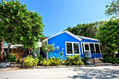 This colorful guest cottage is on the grounds of Tween Waters Inn resort on Captiva Island.