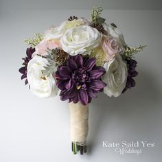 Happy fall!  Who loves plum for an autumn wedding?  Silk wedding bouquet by Kate Said Yes Weddings.  #fallwedding #fallbride #rusticwedding #rusticbride #weddingbouquet #bridalbouquet #weddingflowers #bouquet #bride #bridalbouquet #bridetobe #weddingplann Autumn Bride, Autumn Wedding, Rustic Wedding, Silk Wedding Bouquets, Wedding Flowers, Plum Flowers, 2018 Wedding Trends, Happy Fall, Corsage