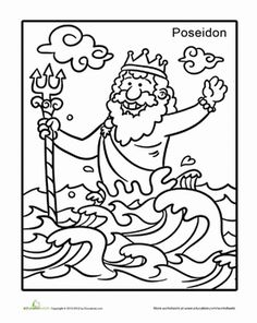 Second Grade Coloring Worksheets: Poseidon Coloring Page Greek Gods And Goddesses, Greek Mythology, 2nd Grade Worksheets, Coloring Worksheets, Olympic Crafts, Greek Crafts, Library Page, Medieval Fantasy, Colouring Pages