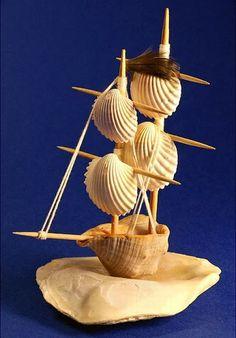 Sea Crafts, Rock Crafts, Nature Crafts, Diy Home Crafts, Crafts To Make, Arts And Crafts, Baby Crafts, Seashell Jewelry, Seashell Art