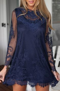 See-Through Long Sleeve Lace Dress