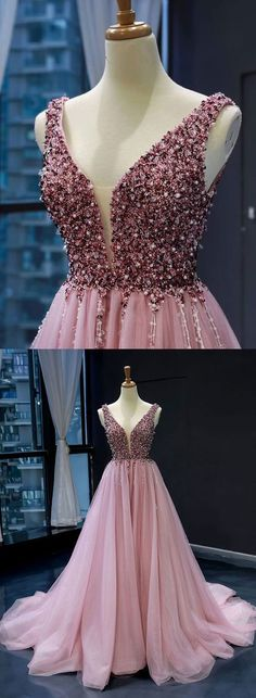 Pink V neck Tulle Beads Long Prom Dress, Pink Evening Dress - #Beads #dress #Evening #Long #neck #Pink #prom #tulle