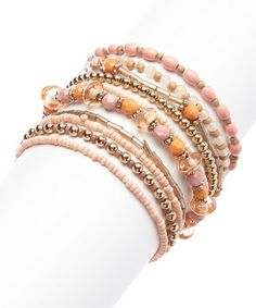 Love this Gold & Pink Bead Stretch Bracelet Set on #zulily! #zulilyfinds