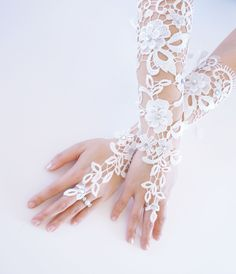 Wedding Fingerless Gloves with Rhinestones and Satin Lace Up Back, Bridal Accessories