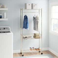 Andover Mills Petrone W Garment Rack Laundry Station, Laundry Center, Clothes Drying Racks, Hanging Clothes, Wire Shelving, Adjustable Shelving, Small Apartment Closet, Clothes Basket, Closet Rod