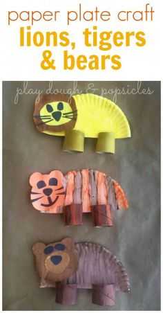 Lions, Tigers, and Bears, Oh My! Preschool craft for extension of The Wizard of Oz. Animal crafts for kids. Animal Crafts For Kids, Craft Activities For Kids, Toddler Crafts, Art For Kids, Safari Animal Crafts, Preschool Crafts, Fun Crafts, Arts And Crafts, Paper Plate Crafts