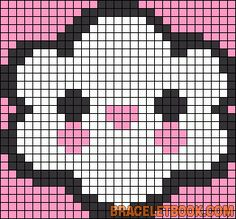 Free Cute Kawaii Cloud Cross Stitch Chart or Hama Perler Bead Pattern