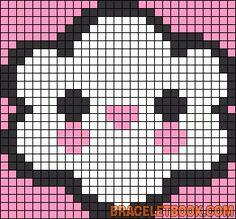 Free Cute Kawaii Cloud Cross Stitch Chart or Hama Perler Bead Pattern