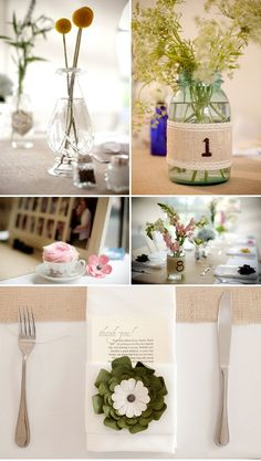 burlap table numbers (also try DIY $7 Custom Chocolate Wrapper Printables: www.customweddingprintables.com)