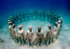 Jason de Caires Taylor created 65 works for the world's first underwater sculpture park, at Molinere bay off Grenada