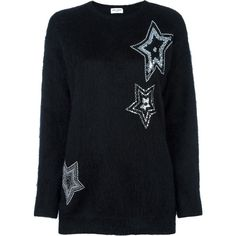 Saint Laurent Sweater With Stars ($1,645) ❤ liked on Polyvore featuring tops, sweaters, black, embellished sweaters, long sleeve jumper, star print sweater, round neck sweater and beaded top