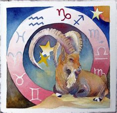 Capricorn Zodiac © #watercolor by Frank Koebsch, 21 x 21 cm, $270; More information about the Zodiac can be found at http://frankkoebsch.wordpress.com/2011/08/22/sternzeichen-steinbock-%c2%a9-aquarell-von-frank-koebsch/