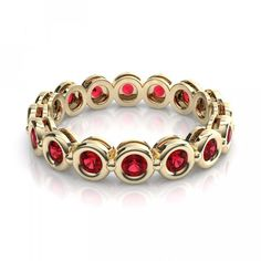 .80ctw Stackable Eternity Ruby Ring in 14k Yellow Gold