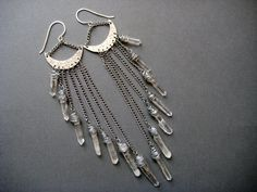 Celestial- Raw Quartz Crystal Extra Long Earrings- Chain Chandelier Shoulder Dusters with Crescent Moon and Stars