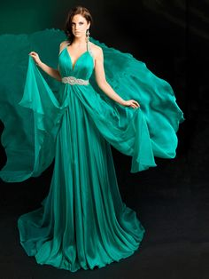 A-line Halter Emerald Crystal Ruched Chiffon Sweep Train Dress at Dresseshop