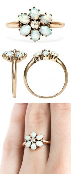 Vintage Opal Flower Ring - features a real diamond in the middle, and gold band. Ava's sweet 16 maybe?