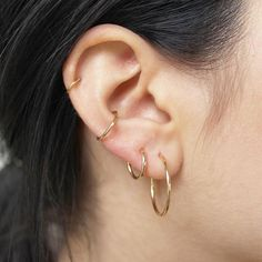 The Un and Deux Gold Hoop Earrings