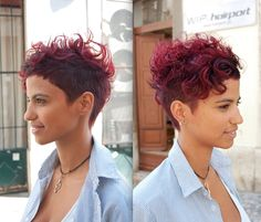 This is the kind of color I want in a few more weeks when my hair has filled out a little more: a purple-y red / burgundy.