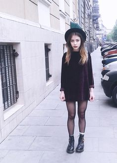 Second Hand Purple Velvet Dress, Dr. Martens Boots