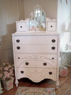Gorgeous Tall Chest of Drawers with Mirror <3 Shabby Chic Cottage