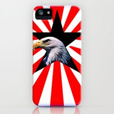 american flag and the Bald eagle iPhone Case by seb mcnulty - $35.00