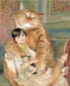 Pierre-Auguste Renoir, The Cat with Julie Manet #fatcat