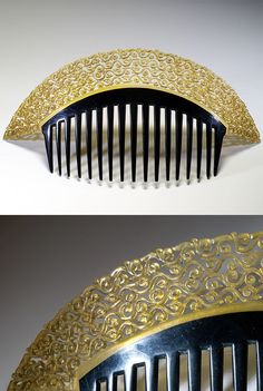 Comb signed Auguste Bonaz, France, ca. 1920, Width : 7 3/8 inch, Height : 3 5/8 inch, Depth : 1/8 inch, Very balanced shape with Japanese influence mixed to an Art deco one. Note the opposition between openwork and full surface, black and clear yellow. Bonaz made a wide variety of combs with this shape.