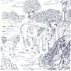 Cows Duck And Dog On The Farm Country Living Coloring Book Printable