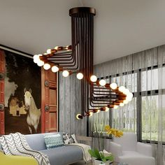 This fabulous spiral iron chandelier lamp is the perfect center piece for any space! Made from polished iron. Free Worldwide Shipping & Money-Back Guarantee Luxury Lighting, Interior Lighting, Home Lighting, Modern Lighting, Chandelier Lamp, Modern Chandelier, Chandelier Creative, Industrial Chandelier, Iron Chandeliers