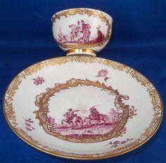 Seltene 1740 Meissen Porzellan Schlachtenszenen Tasse & Untertasse Szenentasse