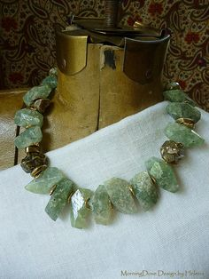 Rough Cut Aquamarine and gold by MorningDove on Etsy, $220.00